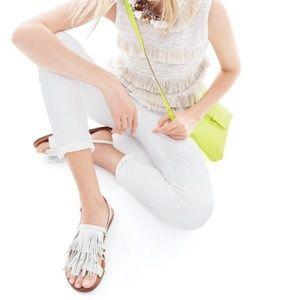 $118 ~J CREW~ White Leather Fringe Sandals~8.5/9